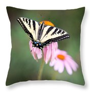 Butterfly On Pink Cone Flower Throw Pillow