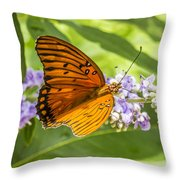 Butterfly On Purple Throw Pillow