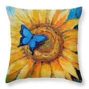 Butterfly On Sunflower Throw Pillow