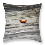 Butterfly On The Dock Throw Pillow
