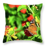 Butterfly On The Red Flower 2 Throw Pillow