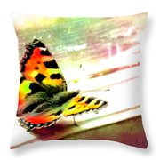 Butterfly On The Window Frame Watercolor Throw Pillow