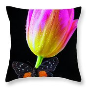 Butterfly On Yellow Pink Tulip Throw Pillow