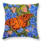 Butterfly Orange Throw Pillow