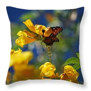 Butterfly Pollinating Flowers  Throw Pillow