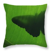Butterfly Silhouette On Leaf Throw Pillow