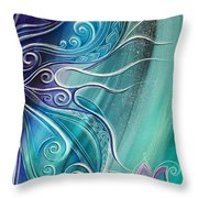 Butterfly Wing With Lotus Throw Pillow
