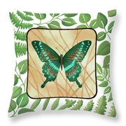 Butterfly With Leaves 2 Throw Pillow