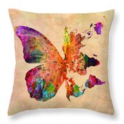 Butterfly World Map  Throw Pillow