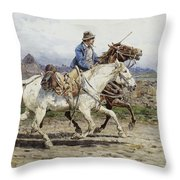 Buttero Riding In The Roman Campagna Throw Pillow
