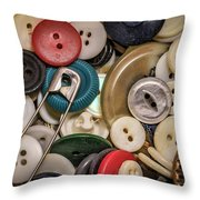 Buttons And Buttons Throw Pillow