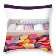 Buttons And Textile Fabrics In A Sewing Box Throw Pillow