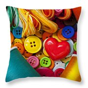 Buttons And Thread Throw Pillow