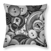 Buttons In Black And White Throw Pillow