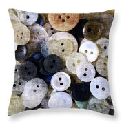 Buttons In Grunge Style Throw Pillow