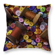 Buttons With Thread Throw Pillow