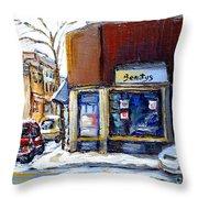 Buy Original Montreal Paintings Beauty's Winter Scenes For Sale Achetez Petits Formats Tableaux  Throw Pillow