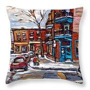 Buy Original Wilensky Montreal Paintings For Sale Achetez Petits Formats Scenes De Rue Street Scenes Throw Pillow