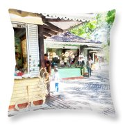 Buying Items In These Shops On The Street Throw Pillow