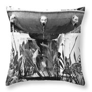 Bw Fountain At The Getty Villa Throw Pillow