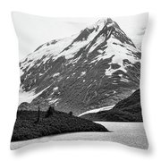 Bw Glacier Alaska  Throw Pillow