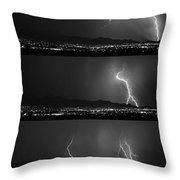 Bw Lightning Thunderstorm Sequence Throw Pillow