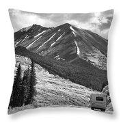 Bw Mobile Home Travel Alaska  Throw Pillow