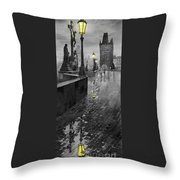Bw Prague Charles Bridge 01 Throw Pillow