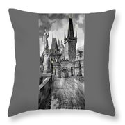 Bw Prague Charles Bridge 02 Throw Pillow by Yuriy  Shevchuk