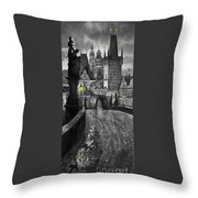 Bw Prague Charles Bridge 03 Throw Pillow by Yuriy  Shevchuk