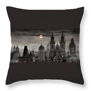 Bw Prague City Of Hundres Spiers Throw Pillow by Yuriy  Shevchuk
