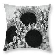 Bw Sunflowers #010 Throw Pillow