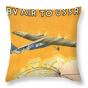 By Air To Ussr With The Soviet Union's Chief Cities - Vintage Poster Restored Throw Pillow