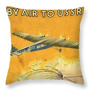 By Air To Ussr With The Soviet Union's Chief Cities - Vintage Poster Vintagelized Throw Pillow