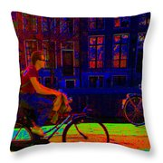 By Bicycle Amsterdam Throw Pillow