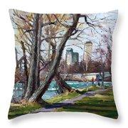 By Niagara River Throw Pillow