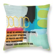 By Prayer And Petition- Contemporary Christian Art By Linda Wood Throw Pillow
