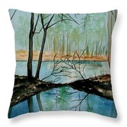 By River's Edge Throw Pillow