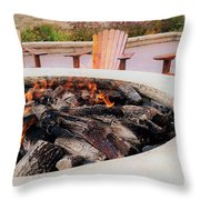 By The Fire Throw Pillow