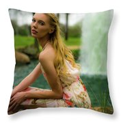 By The Fountain Throw Pillow
