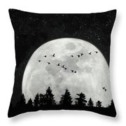 By The Light Of The Silvery Moon - Birds  Throw Pillow
