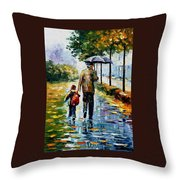 By The Rain Throw Pillow
