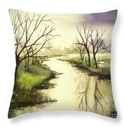 By The Riverside Throw Pillow