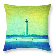 By The Sea - Cape May Lighthouse Throw Pillow