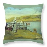 By The Sea Swanage Throw Pillow