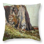 By The Stone Warrior Throw Pillow