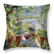 By The Water Near The Lake Throw Pillow
