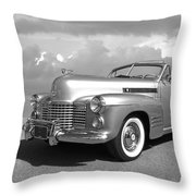 Bygone Era - 1941 Cadillac Convertible In Black And White Throw Pillow