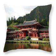 Byodo-in Temple, Oahu, Hawaii Throw Pillow by Mark Czerniec