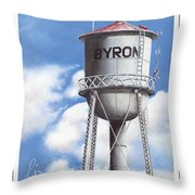 Byron Water Tower Poster Throw Pillow